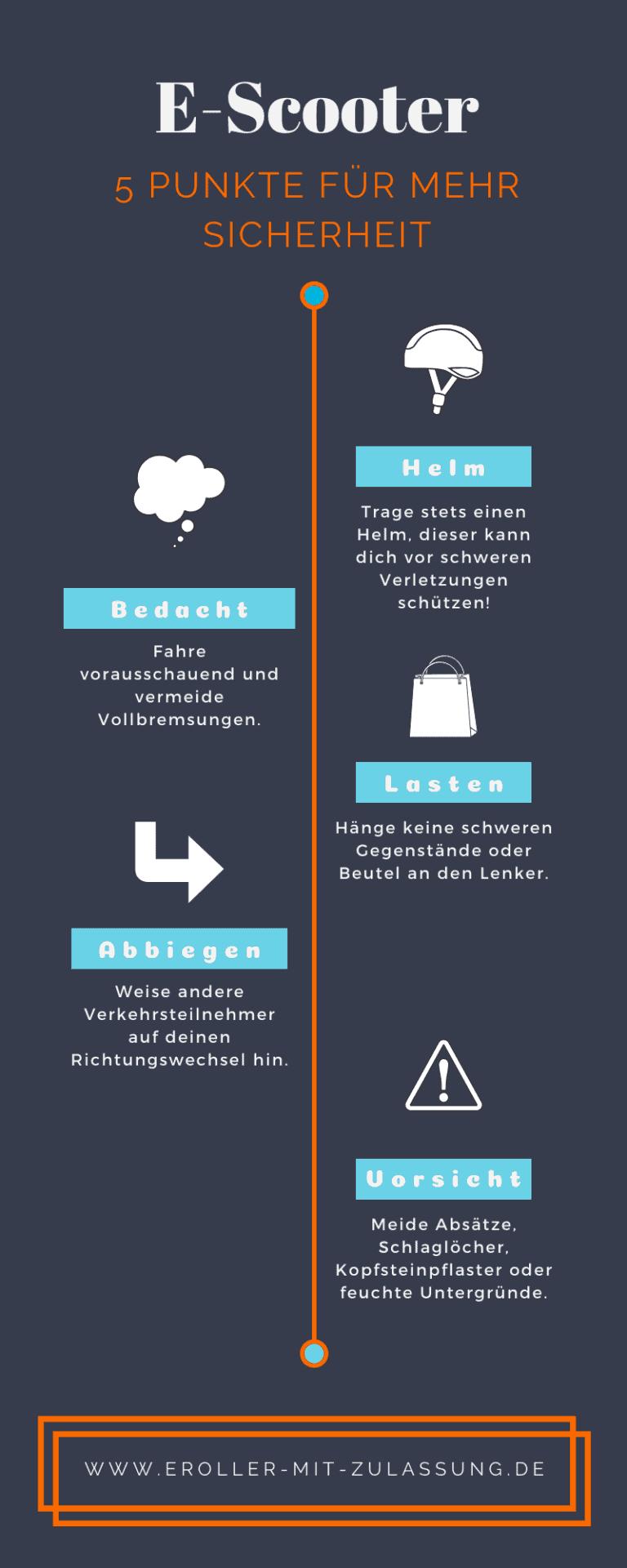 E-Scooter Sicherheit - Infografik 5 Tipps