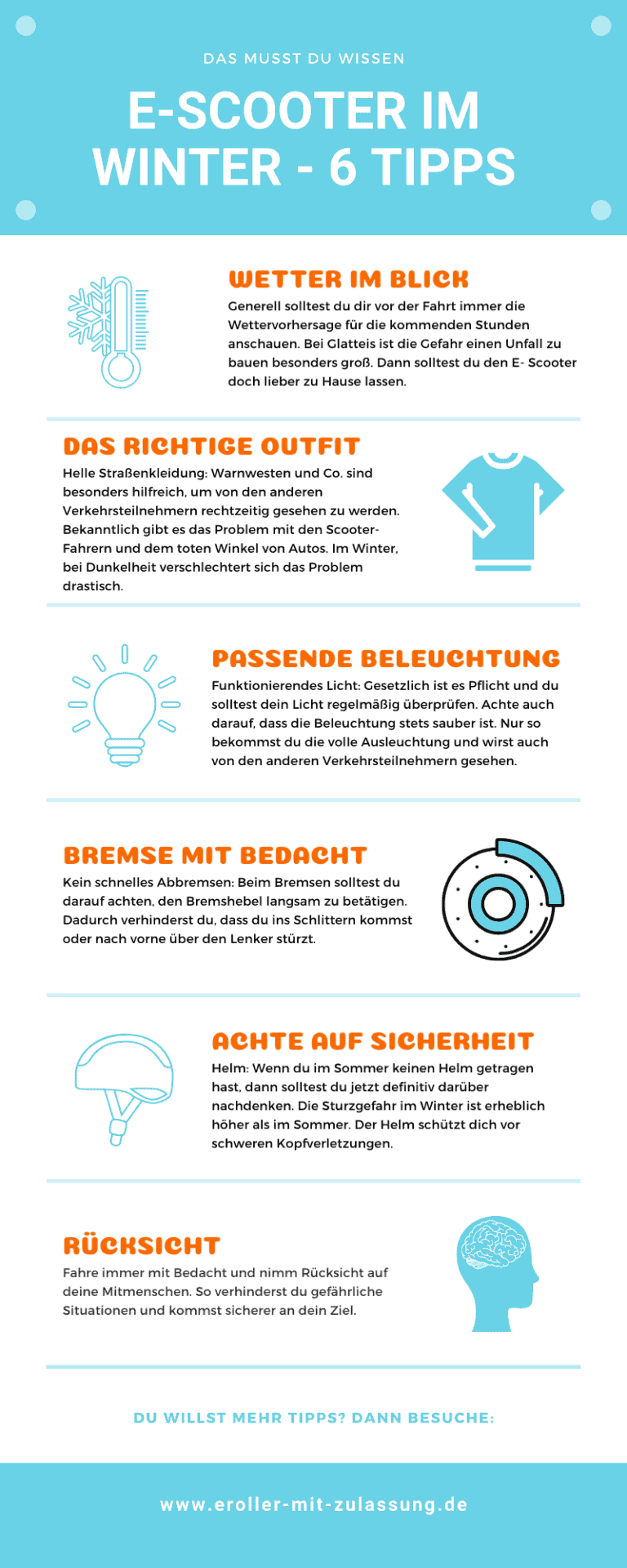 E-Scooter Infografik Winter - 5 Tipps