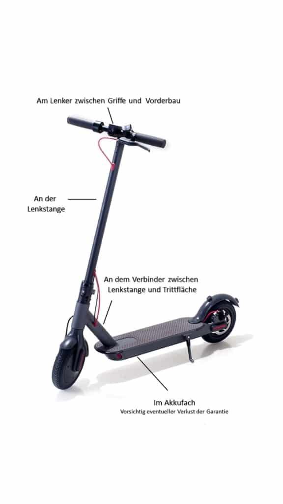 Alarmanlage für E-Scooter - Montageort